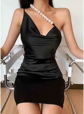 Solid Sleeveless Bodycon Above Knee Little Black/Sexy/Party Dresses