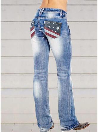 Shirred Plus Size Elegant Sexy Denim & Jeans