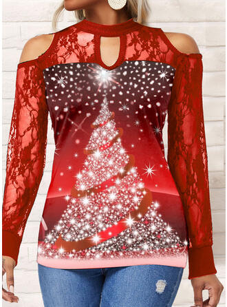 Christmas Gradient Star Chiffon Cold Shoulder Long Sleeves T-shirts