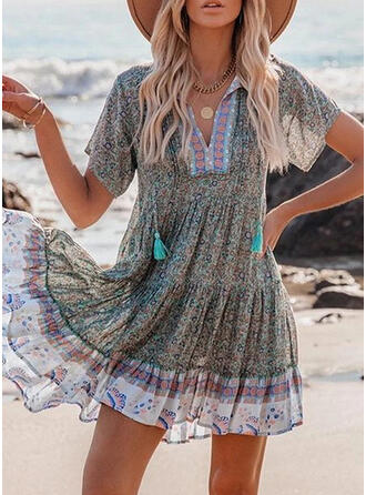 Print/Floral/Tassel Short Sleeves Shift Above Knee Vacation Tunic Dresses