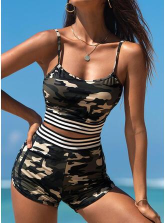 Stripe Splice color Strap U-Neck Plus Size Retro Tankinis Swimsuits