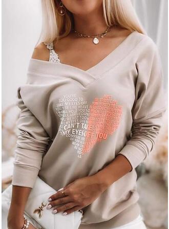 Valentine's Day Heart Letter V-Neck Long Sleeves T-shirts