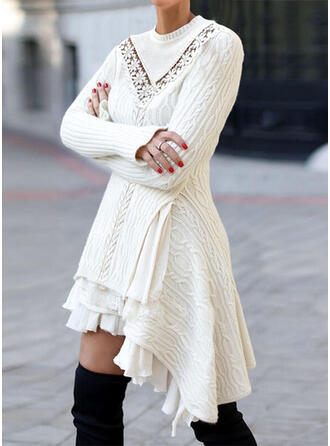 Solid Lace Round Neck Casual Long Asymmetrical Sweater Dress