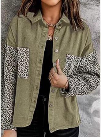 Long Sleeves Leopard Blend Coats