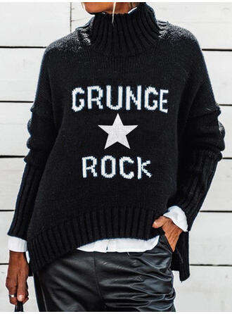 Print Letter High Neck Casual Sweaters