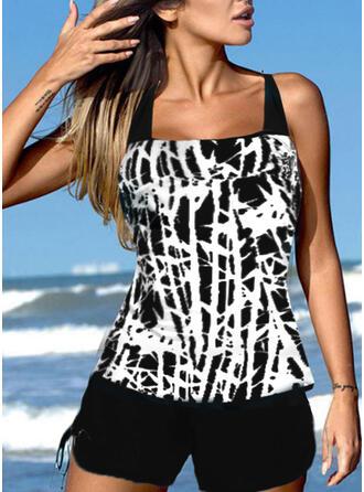 Stripe Splice color Strap U-Neck Retro Boho Swimdresses Swimsuits