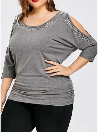 Solid Cold Shoulder 3/4 Sleeves Casual Plus Size Blouses