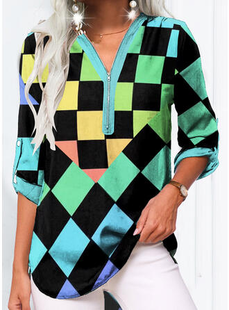 Plaid V-Neck 3/4 Sleeves Long Sleeves Casual Blouses