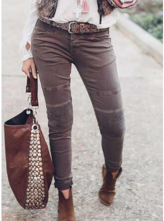 Solid Long Vintage Plus Size Pocket Button Pants