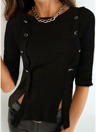 Solid Round Neck 1/2 Sleeves Button Up Blouses