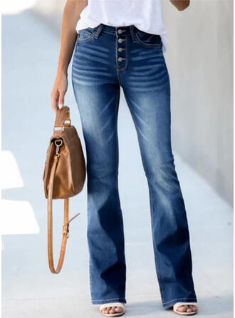 Shirred Plus Size Elegant Vintage Denim & Jeans