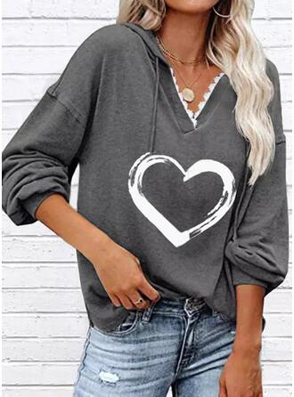Print Heart Lace Long Sleeves Hoodie