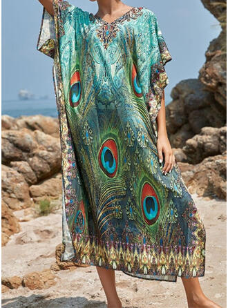 Colorful Round Neck Beautiful Casual Amazing Cover-ups Swimsuits