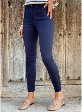 Solid Long Casual Plus Size Pocket Pants