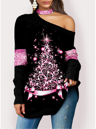 Christmas Star One Shoulder Long Sleeves T-shirts