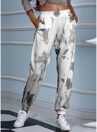 Print Shirred Tie Dye Cropped Casual Sporty Yoga Pants
