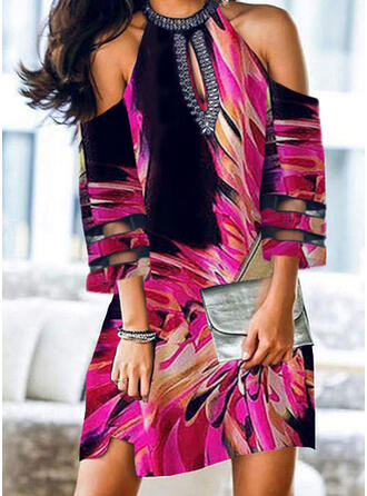 Print 3/4 Sleeves/Cold Shoulder Sleeve Shift Above Knee Casual Tunic Dresses