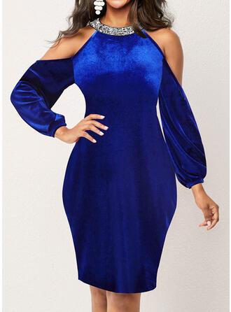 Solid Velvet Long Sleeves Cold Shoulder Sleeve Cocoon Knee Length Party/Elegant Dresses