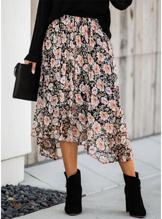 Polyester Print Floral Mid-Calf A-Line Skirts