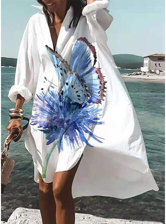 Print/Animal Long Sleeves Shift Knee Length Casual/Vacation Dresses