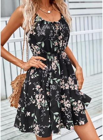 Floral Sleeveless Shift Above Knee Elegant Slip Dresses
