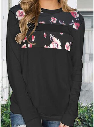 Print Floral Round Neck Long Sleeves Hoodie