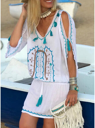 Print 1/2 Sleeves Sheath Above Knee Casual/Boho/Vacation Dresses