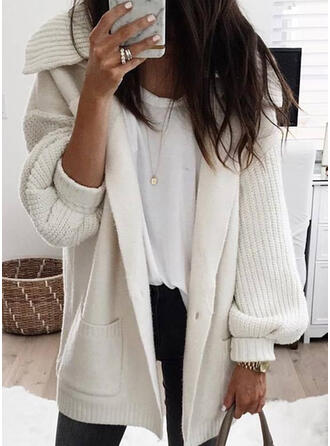 Solid Chunky knit Pocket Lapel Casual Cardigan