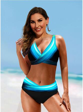 Print Splice color Strap V-Neck Sexy Vintage Fresh Bikinis Swimsuits