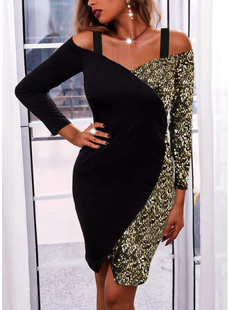 Color Block Sequins Long Sleeves Cold Shoulder Sleeve Bodycon Knee Length Little Black/Party/Elegant Dresses
