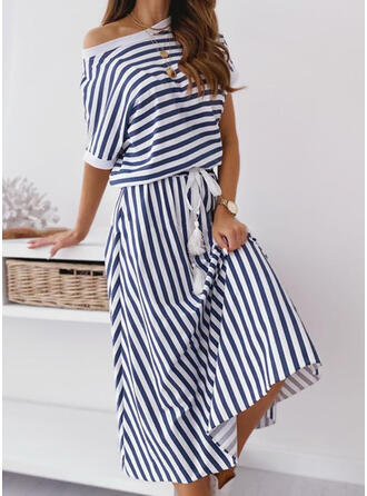 Striped 1/2 Sleeves A-line Casual/Vacation Midi Dresses