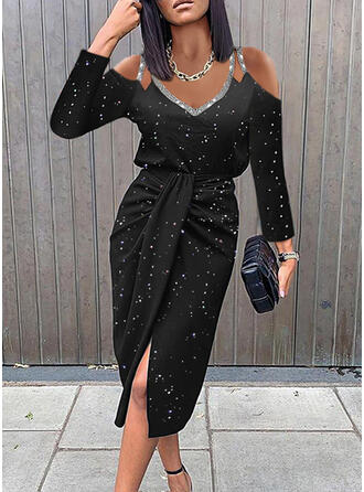 Print Long Sleeves Cold Shoulder Sleeve Sheath Knee Length Elegant Dresses