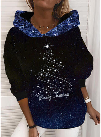 Print Sequins Letter Long Sleeves Christmas Sweatshirt