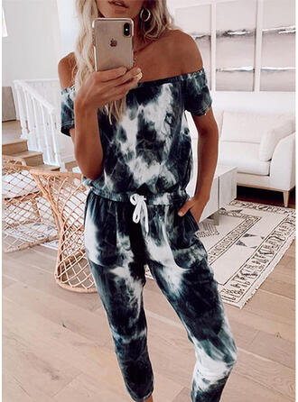 Print Off the Shoulder Short Sleeves Casual Jumpsuit