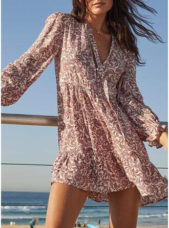 Print Long Sleeves/Lantern Sleeve Shift Above Knee Casual/Boho/Vacation Dresses