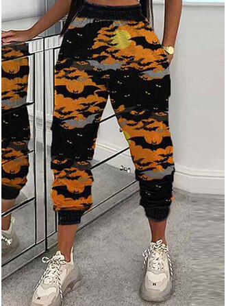 Print Shirred Halloween Cropped Casual Sporty Pants