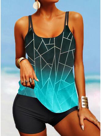 Stripe Splice color V-Neck Boho Tankinis Swimsuits