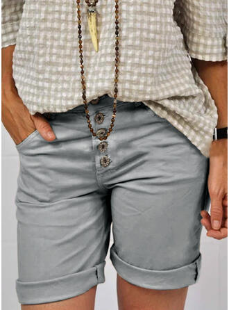 Above Knee Casual Plus Size Pocket Button Shorts