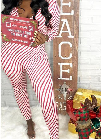 Polyester Striped Long Sleeves Christmas Romper