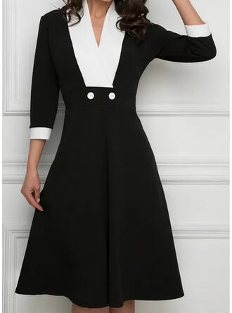 Color Block 3/4 Sleeves A-line Knee Length Casual Skater Dresses