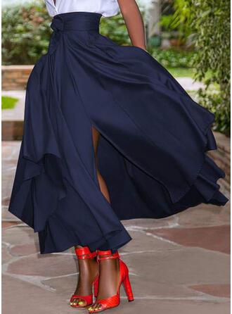 Chiffon Plain Mid-Calf High-Slit Skirts A-Line Skirts