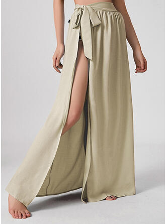 Polyester Plain Floor Length A-Line Skirts