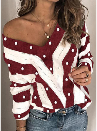 Color Block Beaded V-Neck Casual Christmas Sweaters