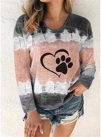 Animal Print Tie Dye Round Neck Long Sleeves Casual T-shirts