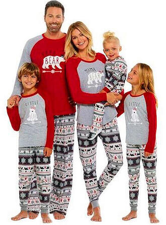 Bear Letter Print Family Matching Christmas Pajamas