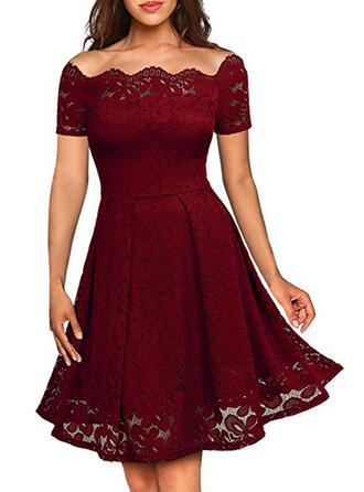 Lace/Solid Short Sleeves A-line Knee Length Vintage/Little Black/Party/Elegant Skater Dresses