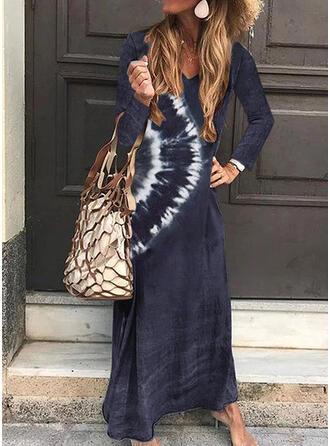 Tie Dye Long Sleeves Shift T-shirt Casual/Vacation Maxi Dresses