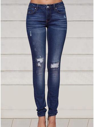 Plus Size Ripped Long Elegant Sexy Skinny Denim & Jeans