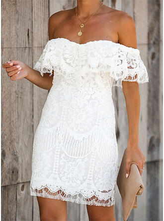 Lace/Solid 1/2 Sleeves Sheath Above Knee Party/Elegant/Vacation Dresses