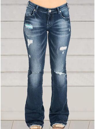 Shirred Plus Size Ripped Casual Vintga Denim & Jeans
